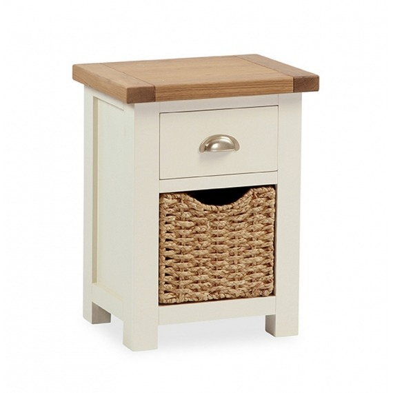 Cream Solid Oak bedside locker with basket