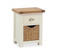 Cream Oak bedside locker with basket