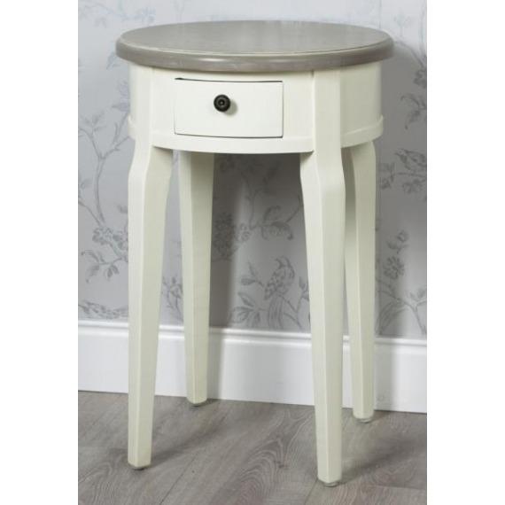 Juliette Cream & Grey Round Side Table