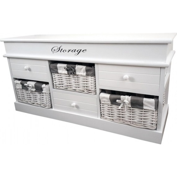 Melody White 6 Drawer Bench Unit with Baskets