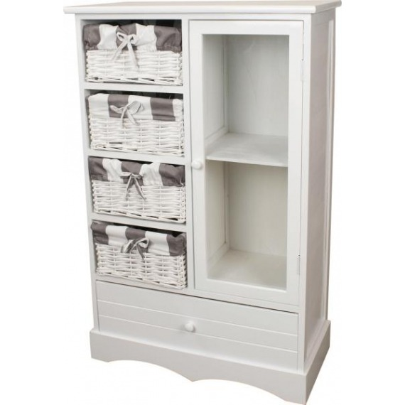 Melody White 4 Basket 1 Door Storage Unit