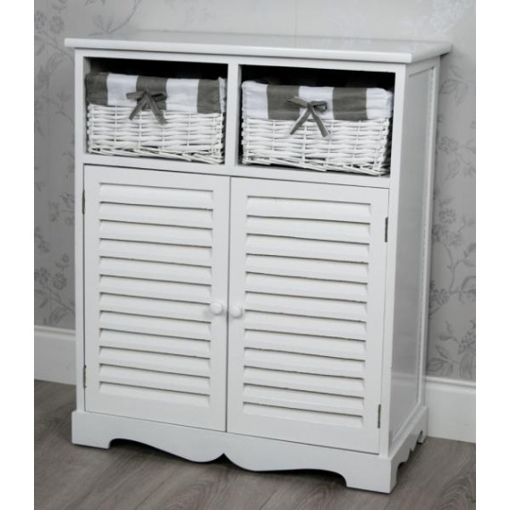 Melody White Storage Unit with Baskets