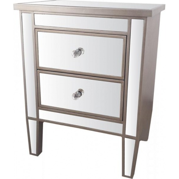 2 Drawer Mirrored Bedside Locker
