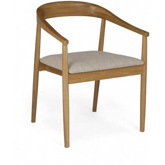 Skovby Oak Carver with Fabric Seat