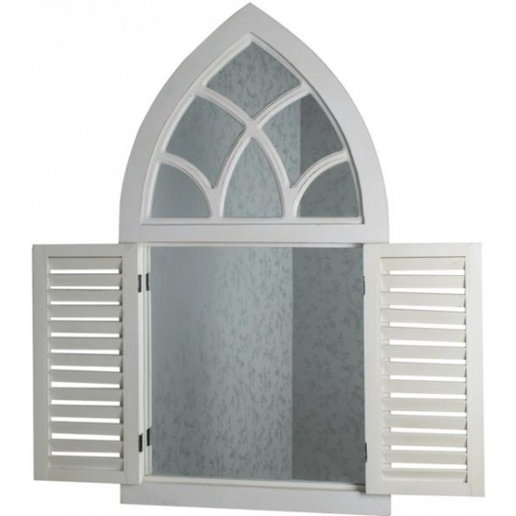 Vintage Window Mirror with Shutters