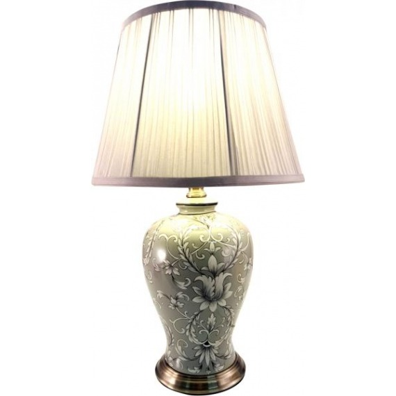 Grey Floral Ceramic Lamp