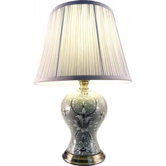 Grey Floral Pattern Ceramic Lamp