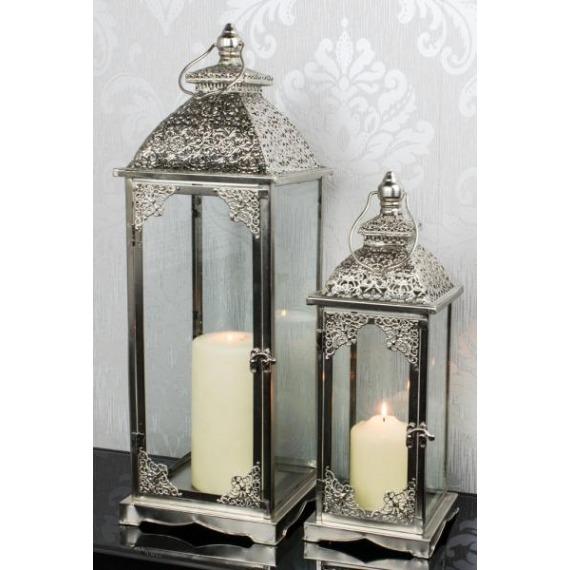 Metal Embossed Silver Lanterns (Set of 2)