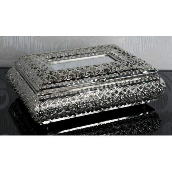 Metal Embossed Jewellery Box with Mirror