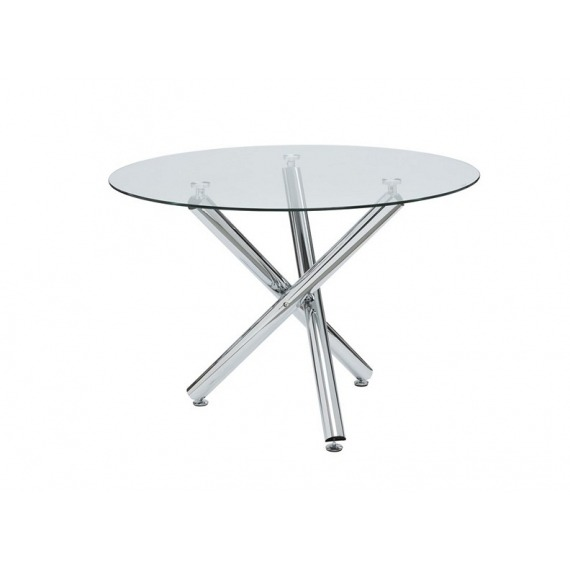 Round Glass Dining Table with Chrome Leg