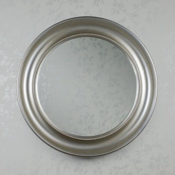 Round Beaded Trim Champagne Mirror