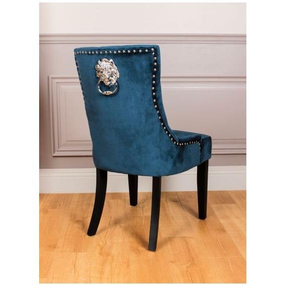 Velvet Chair with Lion Back Detail