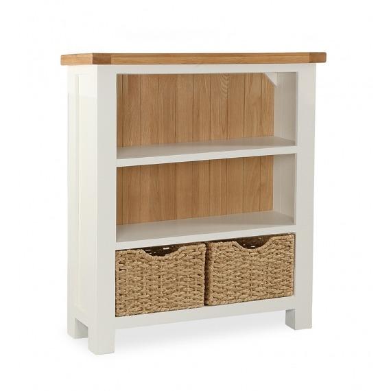 Cream Oak Low Bookcase