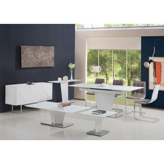 Dusk White Gloss End Table