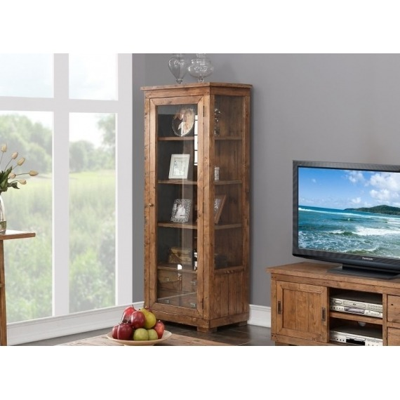 Camrose Reclaimed Pine Glazed Display Unit with Internal Drawers
