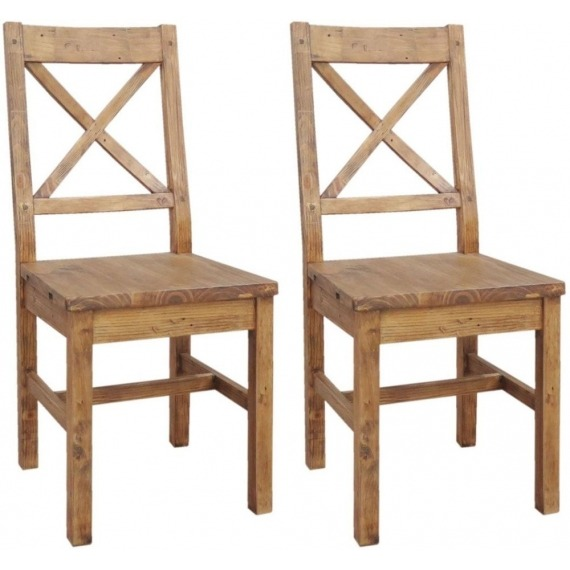Camrose Reclaimed Pine Dining Chair with Wooden Seat