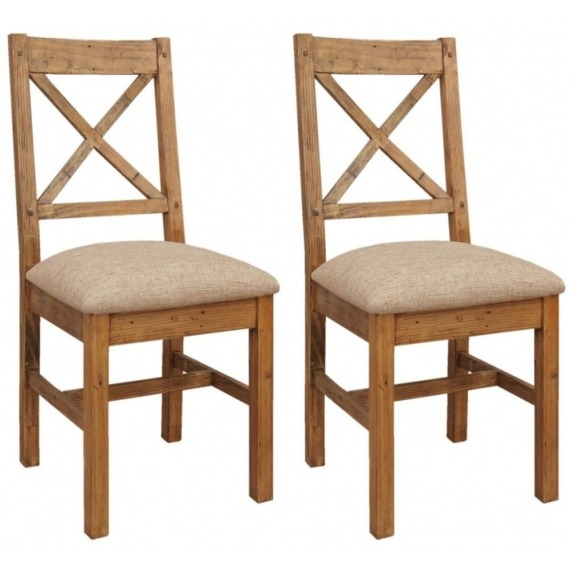 Camrose Reclaimed Pine Dining Chair (Fabric Seat)