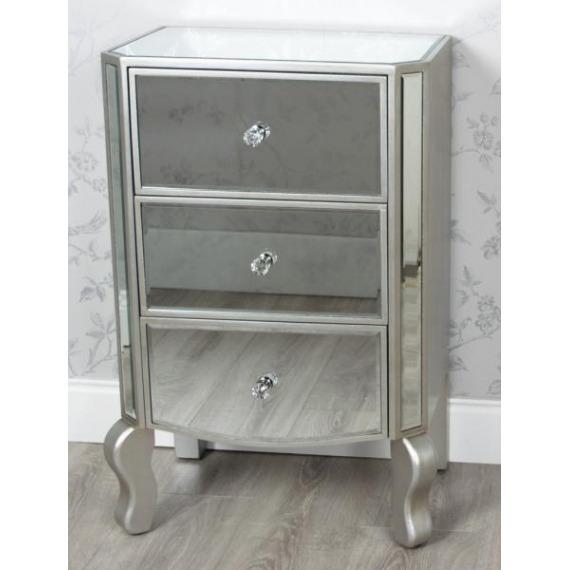3 Drawer Mirrored Locker with Ornate Leg