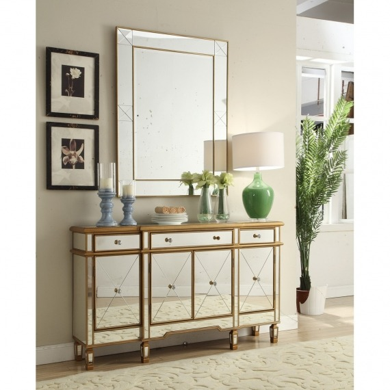 Mirrored Sideboard with Gold Trim
