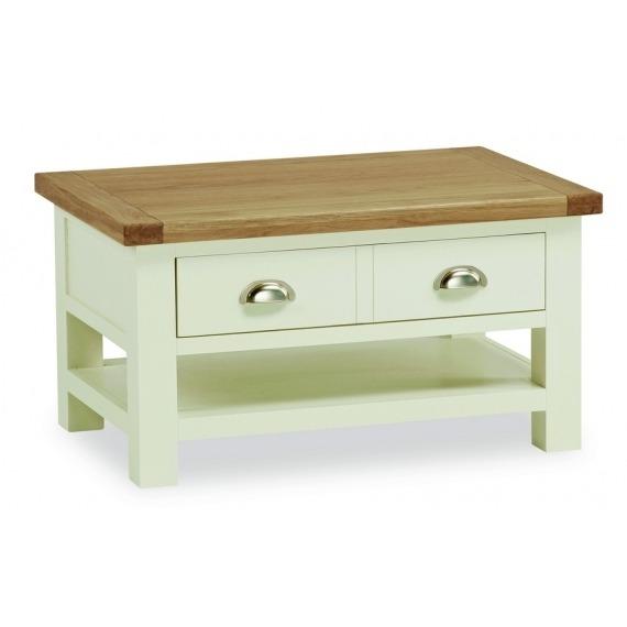 Cream Solid Oak Coffee Table