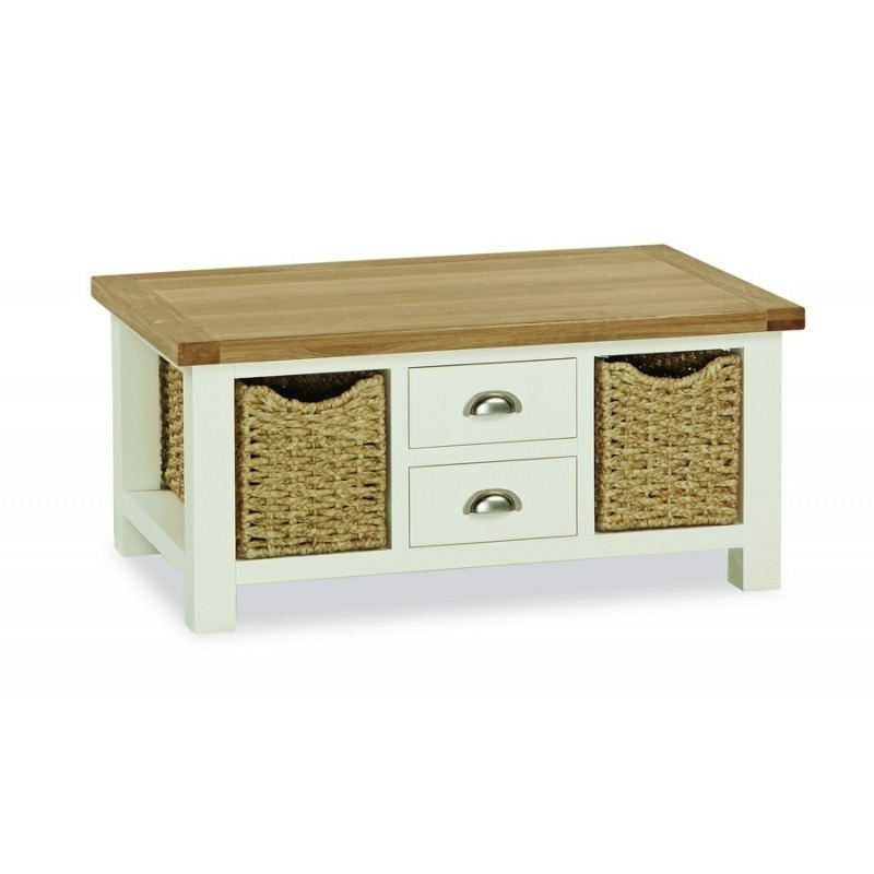 Longview Cream Solid Oak Large Coffee Table Drawers Baskets