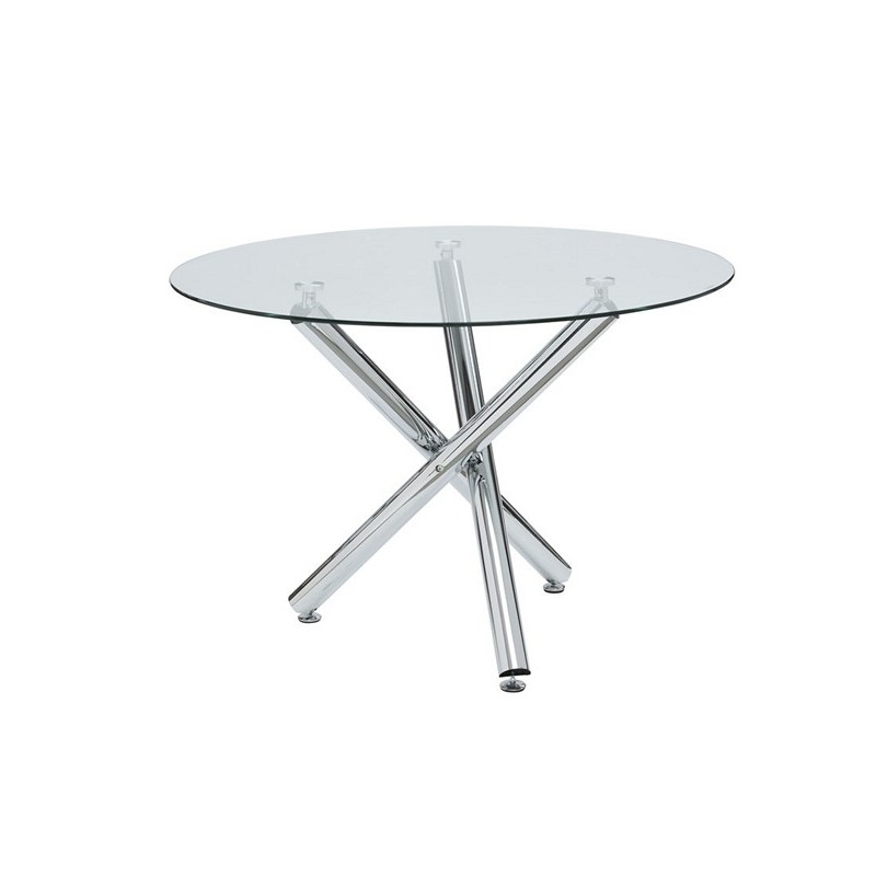 round glass dining table with chrome leg. Black Bedroom Furniture Sets. Home Design Ideas