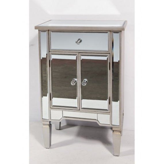 Mirrored 2 Door 1 Drawer Side Table