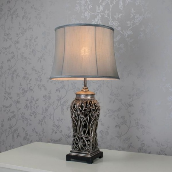 Roxy Table Lamp (Silver & Grey) 69cm