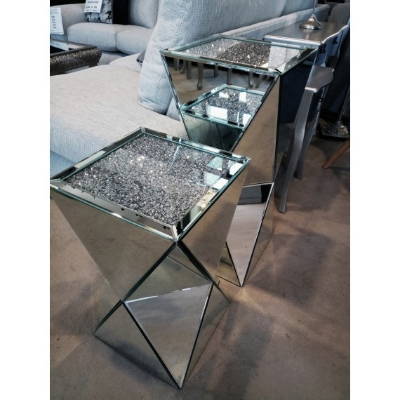Willow Silver Mirrored End Table Large