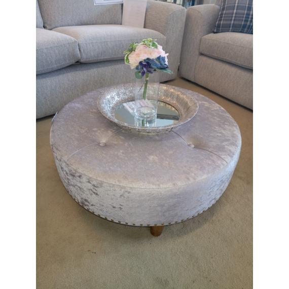Round Crushed Velvet Footstool