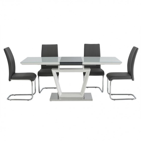 Belgravia White & Grey Gloss Dining Set