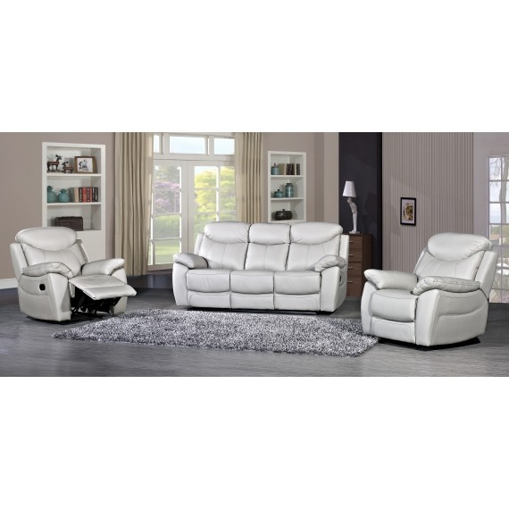 Storm Grey Leather 3 Seater Sofa