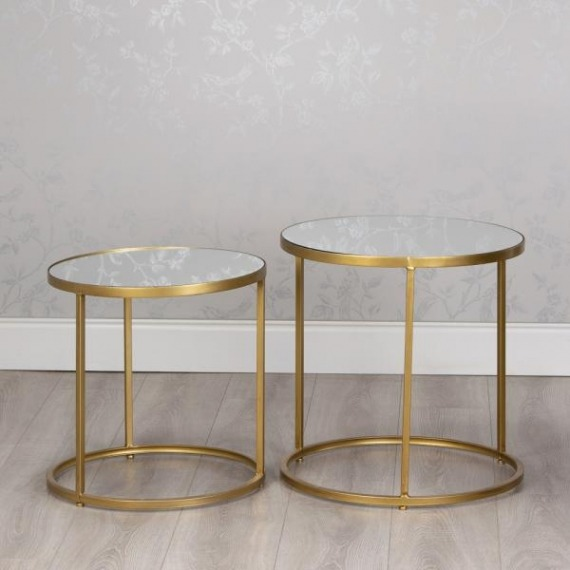 Idaho Round Side Table Set with Mirrored Table Tops