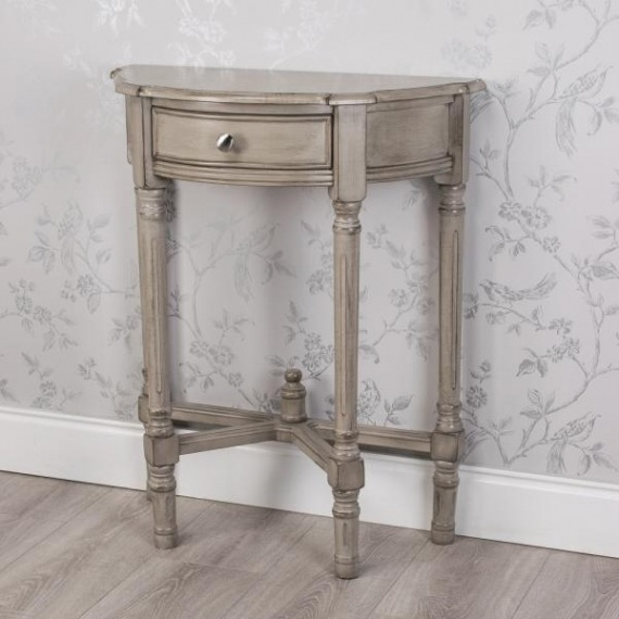 Pearl Half Moon Table with Drawer