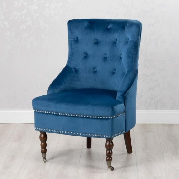 Boudoir Royal Blue Velvet Accent Chair