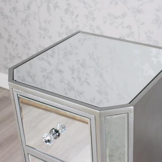 Mirrored Glass Tall 4 Drawer Unit