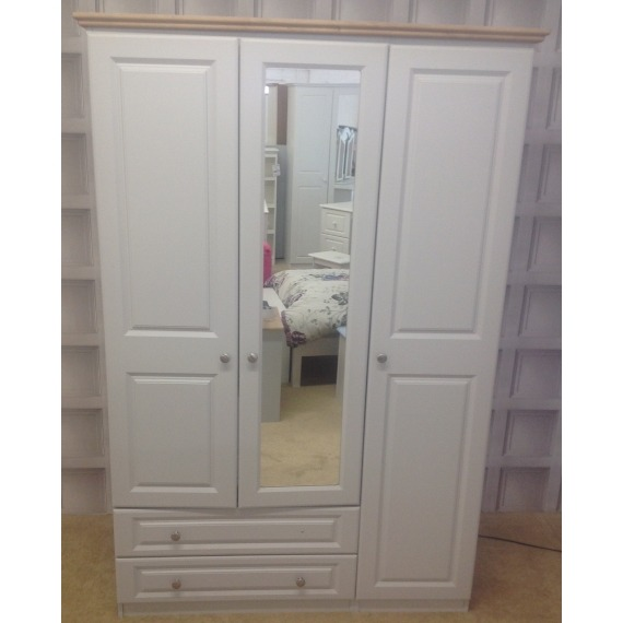 Hannah Triple Wardrobe with Drawers & Mirror