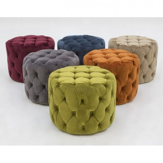 Round Velvet Footstool with Button Detail