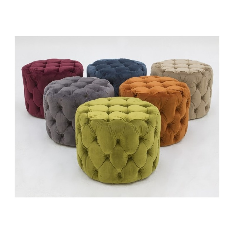 Magnificent Round Velvet Footstool With Button Detail Pabps2019 Chair Design Images Pabps2019Com