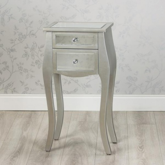 Mirrored Glass 2 Drawer Unit with Curved Accent Leg