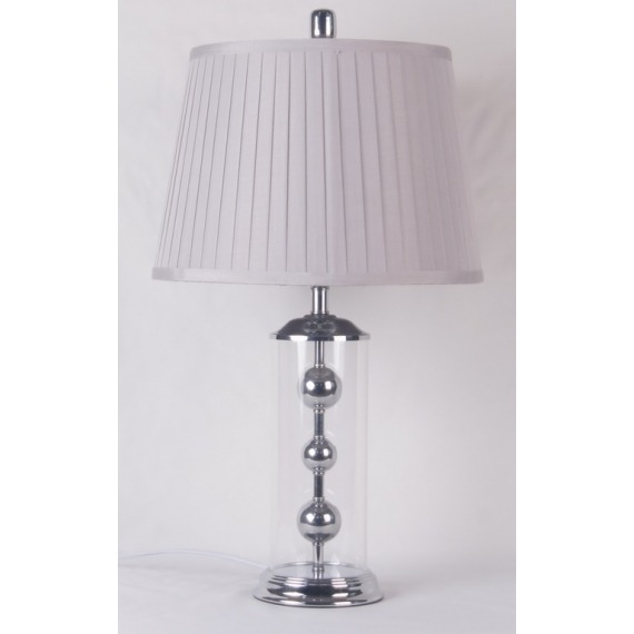Clear Glass Table Lamp with Silver Ball Detail