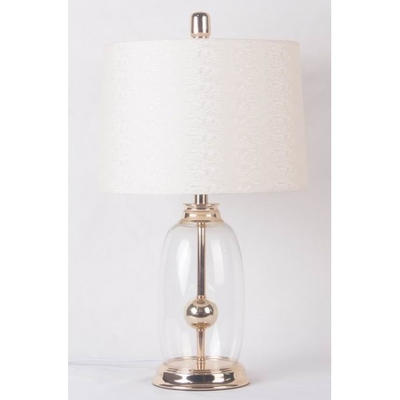 Clear Glass Table Lamp with Gold Metal Detail