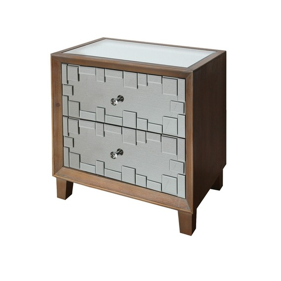 Chloe Champagne 2 Drawer Side Table