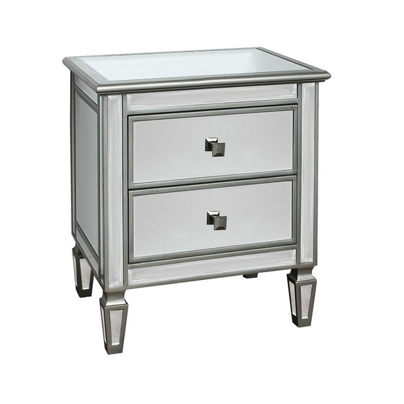 Mirrored Glass 2 Drawer Champagne Side Table