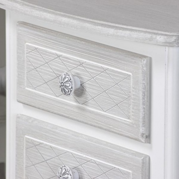 Bramley Grey & White 3 Drawer Side Table