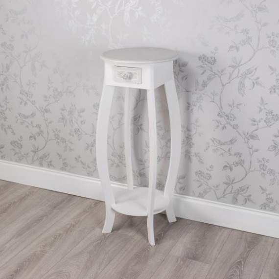 Bramley Grey & White Tall Round Side Table