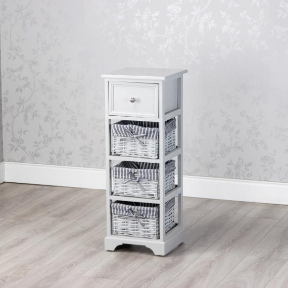 Emma Grey 3 Basket Slim Storage Unit