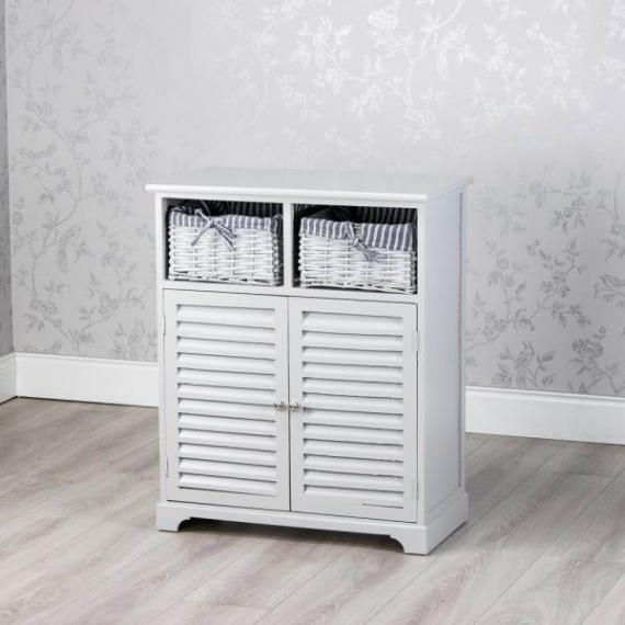 Emma Grey 2 Door Storage Unit with Baskets