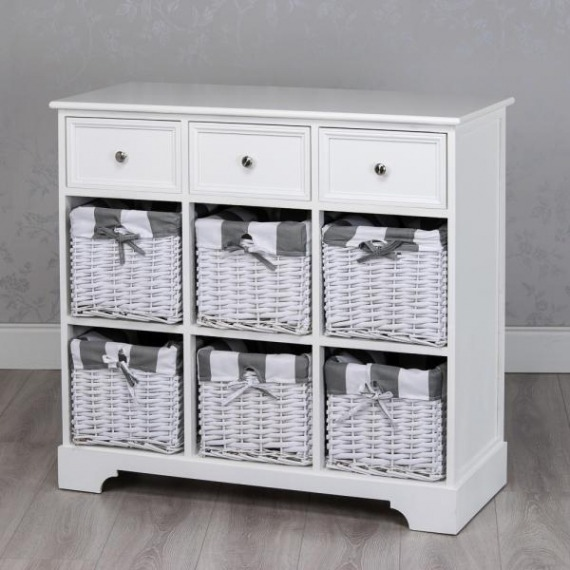 Jill White 6 Basket Storage Unit