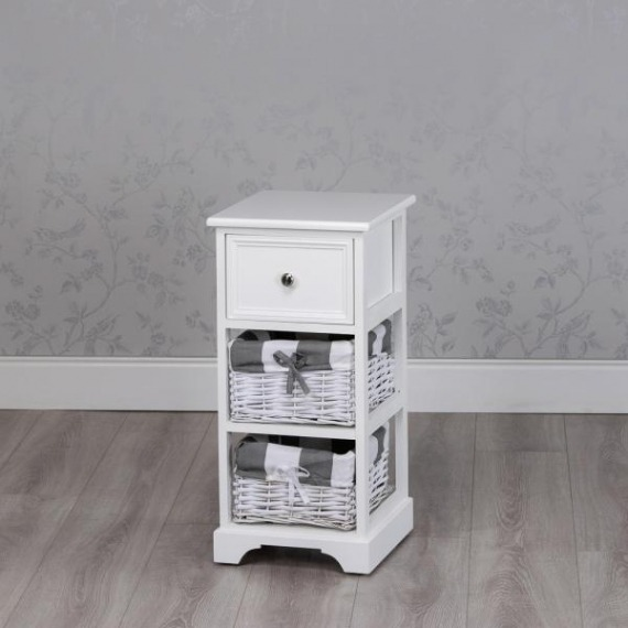 Jill White 2 Basket Slim Storage Unit
